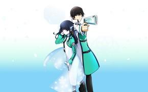 Картинка пистолет, двое, Mahouka Koukou no Rettousei, Миюки, Непутёвый ученик в школе магии, Тацуми