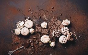 Картинка шоколад, розы, десерт, Macaroons