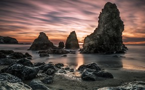 Картинка пейзаж, закат, природа, камни, океан, скалы, Калифорния, США, Rodeo Beach