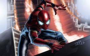 Картинка арт, Человек-паук, супергерой, комикс, костюм, MARVEL, Spider-Man, фантастика, Infinity War