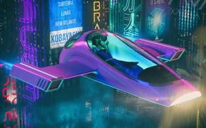 Картинка Музыка, Город, Машина, Дождь, Фантастика, Ливень, Cyber, Cyberpunk, Synth, Retrowave, Synthwave, New Retro Wave, Futuresynth, …
