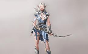 Картинка Girl, Fantasy, Art, Style, Warrior, Arrow, Elf, Minimalism, Characters, Armor, Bow, Arrows, Bugeon Choi, Archery …