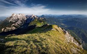 Картинка небо, пейзаж, горы, природа, вид, красота, панорама