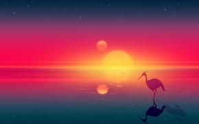 Картинка Закат, Солнце, Море, Горы, Восход, Звезды, Птицы, Fantasy, Пейзаж, Арт, Art, Landscape, Heron, Josef Bartoň, …