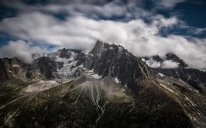 Картинка облака, горы, вершины, Франция, Альпы, Монблан, Пти-Дрю