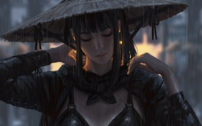 Картинка girl, fantasy, rain, hat, samurai, artist, digital art, artwork, warrior, fantasy art, closed eyes, fantasy …