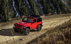 Картинка красный, движение, грунтовка, 2018, Jeep, Wrangler Rubicon