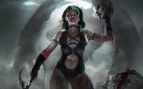 Картинка грудь, девушка, кровь, голова, боец, Mortal kombat, fatality, Sareena