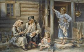 Картинка 1872, Aleksei Ivanovich Strelkovsky, THE VILLAGE SCHOOL, watercolour