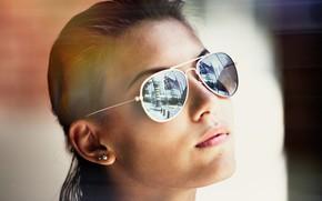 Картинка девушка, лицо, очки