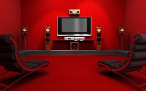 Картинка красный, комната, динамики, монитор