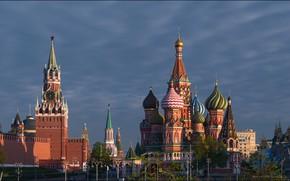 Картинка Москва, Кремль, Храм Василия Блаженного, Россия, Красная площадь, Спасская башня