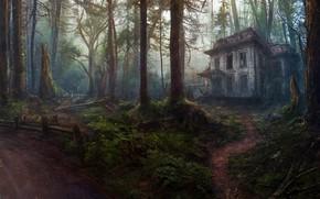 Картинка Деревья, Лес, Дом, Art, Заброшенный дом, Concept Art, by Oleg Yolchiev, Forest house, Oleg Yolchiev