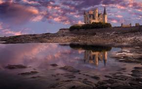 Картинка пейзаж, камни, замок, океан, берег, Франция, Бретань, Тюрпо, Сhateau de Тurpault