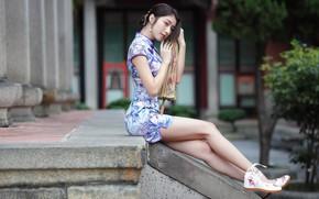 Картинка платье, ножки, азиатка