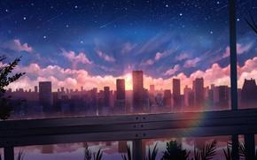Картинка небо, вода, солнце, звезды, закат, город
