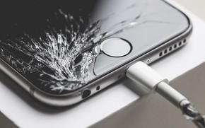 Картинка iphone, зарядка, экран, разбил