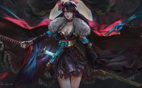 Картинка dark, demon, girl, sword, fantasy, cleavage, horns, armor, dress, weapon, katana, brunette, samurai, digital art, …