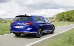 Картинка дорога, синий, Volkswagen, универсал, Passat, R-Line, Variant, 2019