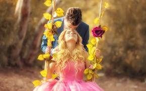 Картинка девушка, качели, романтика, поцелуй, платье, пара, мужчина, влюбленные, Arif Atlı