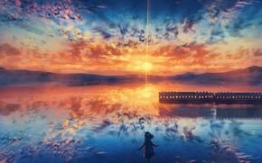 Картинка небо, вода, девушка, закат, поезд
