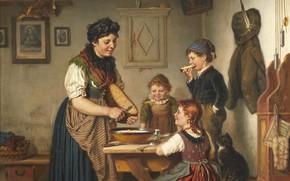 Картинка 1883, German painter, немецкий живописец, oil on canvas, Карл Хец, At the kitchen table, За …