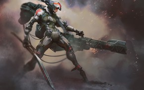 Картинка девушка, оружие, киборг