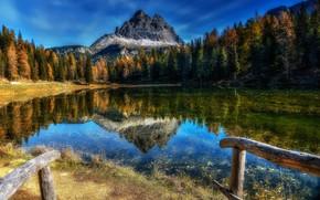 Картинка осень, лес, деревья, горы, озеро, отражение, Италия, Italy, Доломитовые Альпы, Dolomites, Lake Antorno, Lago d'Antorno, …