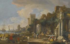 Картинка картина, живопись, painting, Вид на Средиземноморский порт, Venice Capriccio, Udine, 1663-1730, Luca Carlevarus, View of …