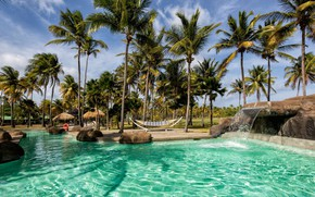 Картинка пальмы, бассейн, курорт, Caribbean, Saint Vincent & Grenadines, Palm Island Resort & Spa, Гренадины