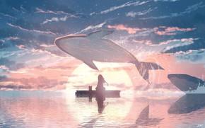 Картинка кошка, вода, девушка, закат, киты