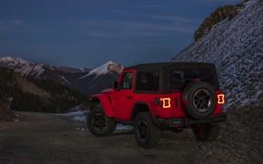 Картинка снег, горы, красный, склоны, 2018, Jeep, Wrangler Rubicon