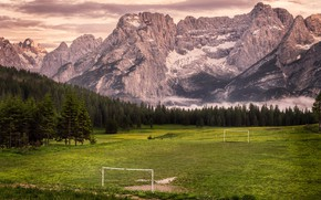 Картинка поле, горы, футбол, ворота, стадион, Italia, Veneto, Misurina