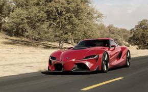 Картинка асфальт, красный, разметка, купе, Toyota, 2014, FT-1 Concept
