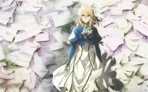 Картинка голубые глаза, много, art, косичка, брошь, письма, конверты, железная рука, Violet Evergarden, Akiko Takase
