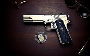 Обои Gun, Bullets, Colt, Glasses, 1911 Colt, Officer's Pistol