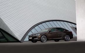Картинка седан, Škoda, Skoda, четырёхдверный, Superb, 2020, цвет тёмного нефильтрованного пива, возле здания