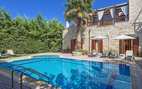 Картинка пальма, вилла, бассейн, Греция, терраса, Crete, средиземноморская архитектура, Villa Asteri, Asteria