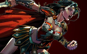 Картинка sword, fantasy, Wonder Woman, weapon, comics, artwork, superhero, warrior, fantasy art, DC Comics, simple background, ...