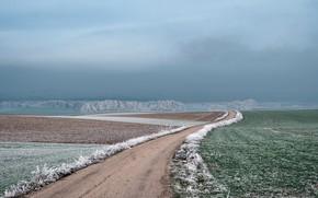 Картинка иней, дорога, туман