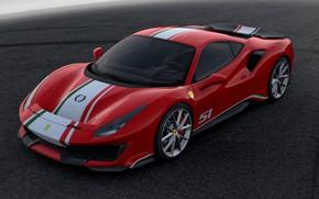 Картинка асфальт, фон, Ferrari, 2019, 488 Pista Piloti Ferrari