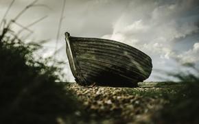 Картинка трава, берег, лодка, деревянная