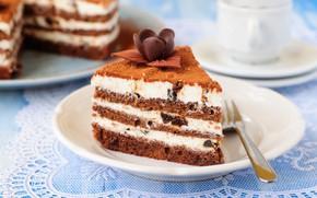 Картинка шоколад, торт, слои