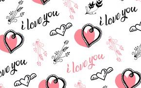 Картинка надписи, Love, белый фон, текстура, Vintage, I love you, Heart