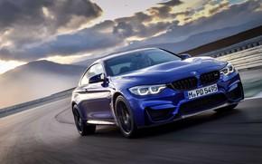 Картинка машина, фары, купе, спортивная, диски, трек, колёса, BMW M4 CS