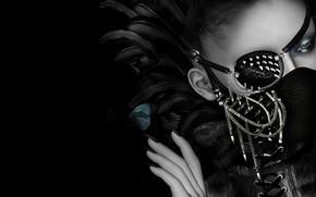 Картинка девушка, лицо, стиль, маска