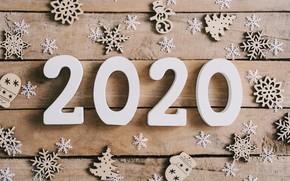 Картинка снежинки, Новый Год, new year, happy, wood, snowflakes, 2020