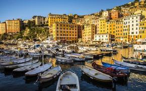 Картинка дома, лодки, порт, Италия, Лигурия, Камольи