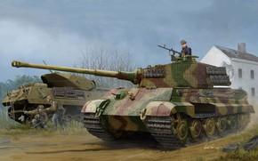 Картинка арт, Tiger II, w/Zimmerit, Pz.Kpfw.VI Ausf.B, German tank, (Henschel 1944 Production), (Sd.Kfz.182)