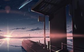 Картинка небо, вода, солнце, закат, природа